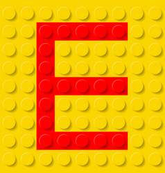 Red letter e in yellow plastic construction kit vector