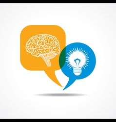 Brain and light-bulb in message bubble vector image vector image