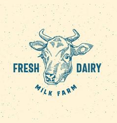 fresh dairy milk farm abstract sign symbol vector image
