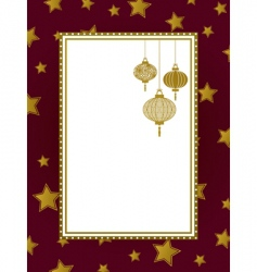 gold frame and lanterns vector image