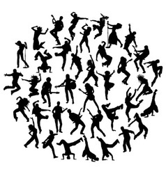 Guitarist Singer and Hip Hop Dancer Silhouettes vector image vector image
