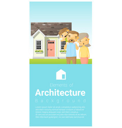 happy family standing outside their house vector image vector image