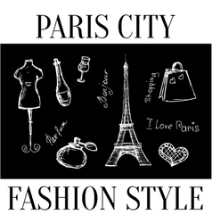 Paris city Fashion style symbols of the city vector image vector image