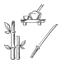 Rice sake bamboo and samurai katana vector image