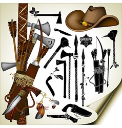 set of ancient weapons vector image