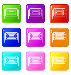 Square fence icons 9 set vector