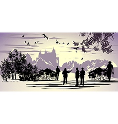 Tourists walk in the park near the ancient castle vector image