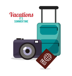 vacations summer time - suitcase camera passport vector image vector image