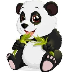 Very cute Panda eating bamboo vector image