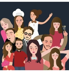 friends picture together set of faces man woman vector image vector image