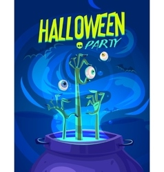 Halloween - witch cooks poison vector image