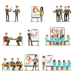 Managers and office workers on business training vector