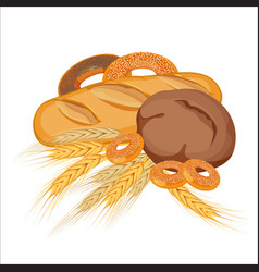 set of bakery products with gold wheat and yellow vector image vector image