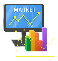 computer screen with graphic of success on market vector image