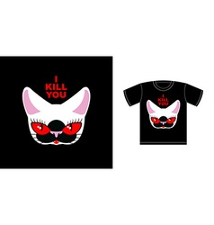 I kill you Angry white cat with red eyes Logo for vector image