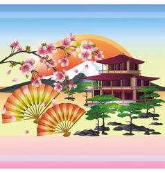 Japanese background with sakura Japanese cherry vector image