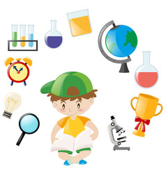 student and school objects vector image