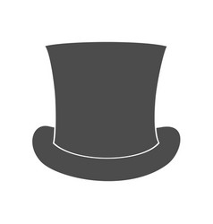 top hat silhouette isolated on white background vector image