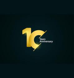 10 years anniversary celebration gold logo vector