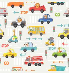 Animals in transport seamless pattern kid cartoon vector