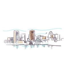 baltimore maryland usa america sketch city line vector image
