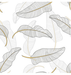 banana leaves seamless pattern background vector image