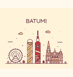 Batumi skyline georgia city linear style vector