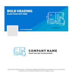 Blue business logo template for book lesson study vector