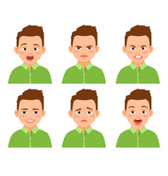 Boy face expression set vector