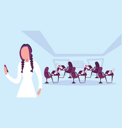Businesswoman using phone office workspace vector