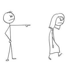 Cartoon angry man or boss expelling woman vector
