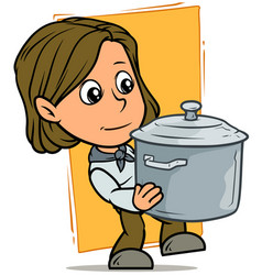 cartoon girl character with metal cooking pot vector image