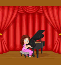 cartoon girl performing piano on stage vector image