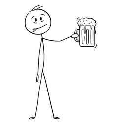 Cartoon man who likes beer and holding glass vector