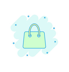 cartoon shopping bag icon in comic style shop vector image