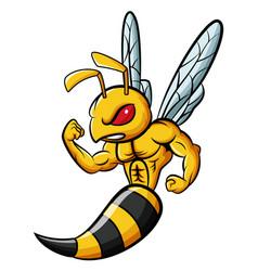Cartoon strong bee mascot character vector