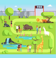 cartoon zoo with visitors and safari animals vector image