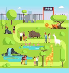 Cartoon zoo with visitors and safari animals vector
