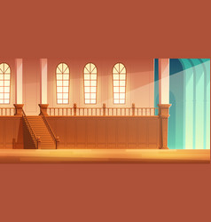Castle cathedral hall with balcony cartoon vector