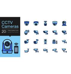 cctv cameras security camera systems icons vector image