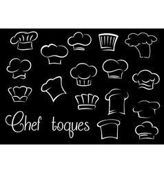 Chef toques and baker hats on black background vector