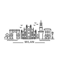 city milan in outline style on white vector image