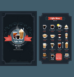 coffee menu with different types cappuccino vector image