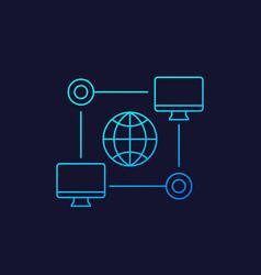 Computer network icon linear vector