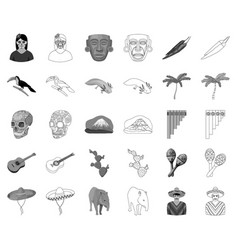 Country mexico monochromeoutline icons in set vector