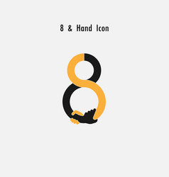 creative 8- number icon abstract and hands icon vector image