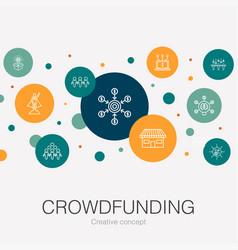 Crowdfunding trendy circle template with simple vector
