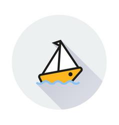 cruise ship icon on round background vector image
