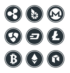 cryptocurrency or virtual currencies icon set vector image