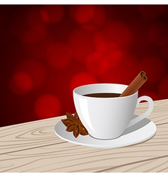 cup of coffee red bokeh vector image